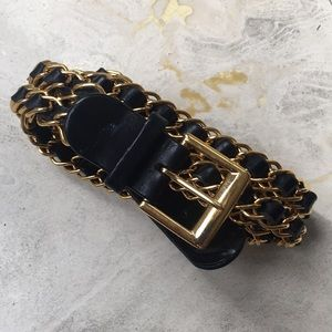 Chanel black and gold chain link leather belt.